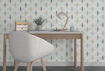Papier peint géométrique bureau