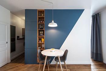 Peinture mur bleu canard